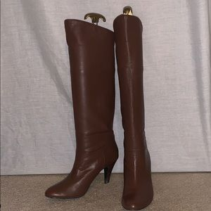 Alfani brown leather knee high foldable boots sz 7